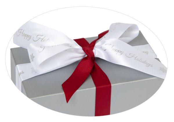 Silver box Happy Holiday White ribbon