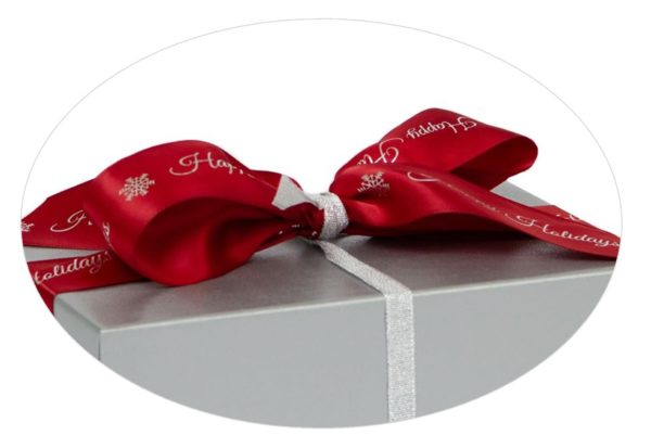 Silver box with Burgundy Happy Holiday ribbon