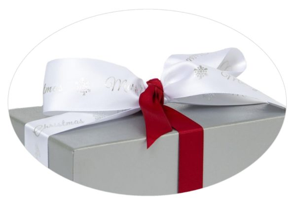 Silver box with Merry Christmas ribbon