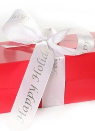 Red Gift Box with Happy Holidays Ribbon