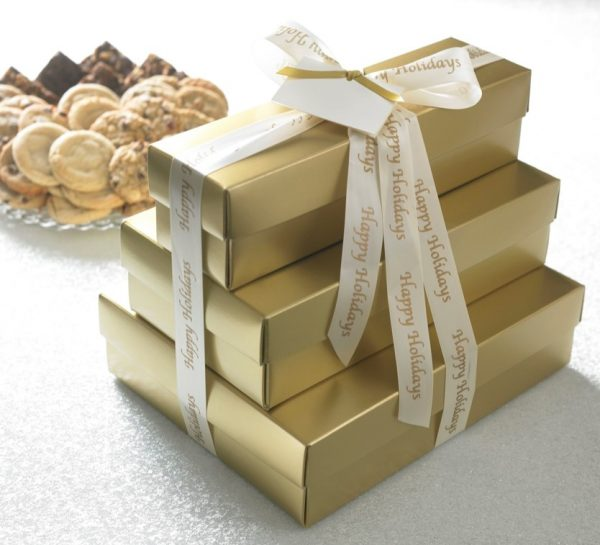 Gold or Red Happy Holidays Cookie Gift Towers ($85.99 up to $168.75)
