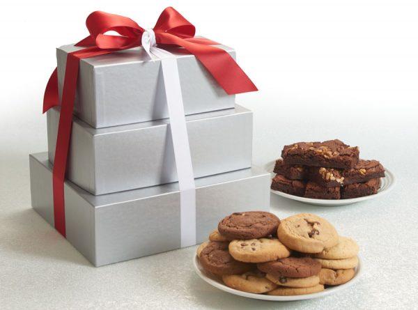 Silver Elegance Cookie and Brownie 3 Tier Tower
