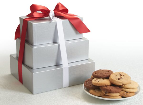 Silver Elegance 3 Tier Cookie Gift Tower