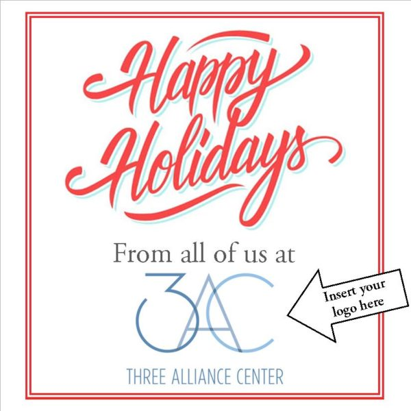 Aqua Happy Holidays Card Insert Logo