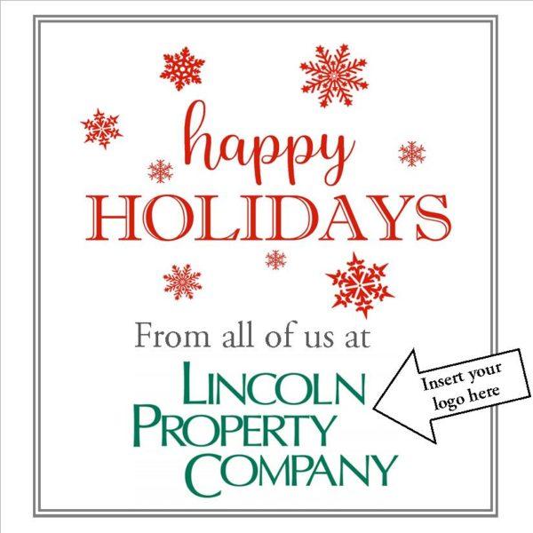 Red Happy Holidays Card Insert Logo